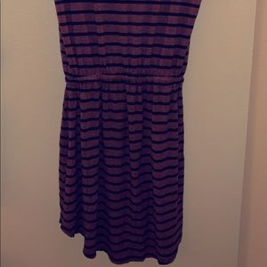 Cute navy blue and pink striped dress